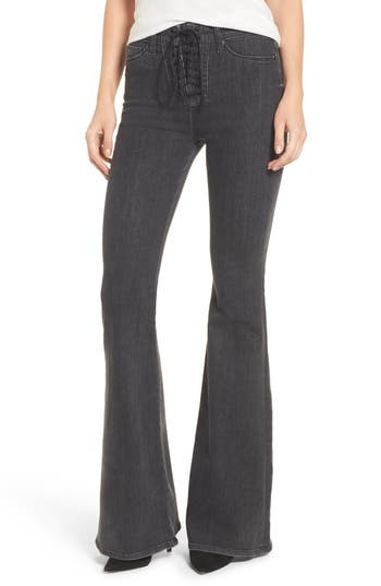 Hudson Jeans Bullocks High Waist Lace-Up Flare Jeans, Grey