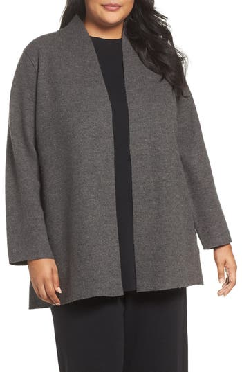 Plus Size Eileen Fisher Boiled Wool Jacket, Brown