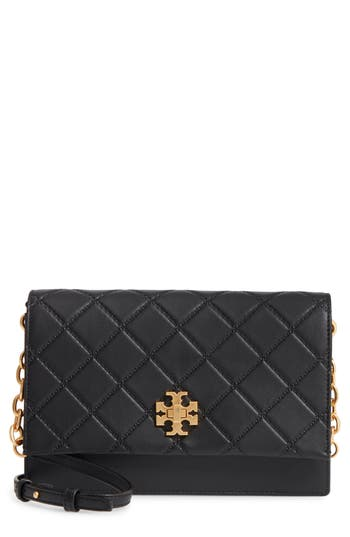 Tory Burch Georgia Quilted Leather Shoulder Bag - Black