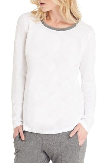 Michael Stars Long Sleeve Ringer Tee, Size One Size - White