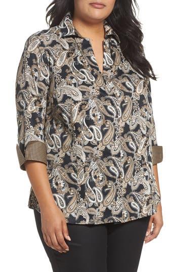 Plus Size Foxcroft Taylor Three-Quarter Sleeve Non-Iron Cotton Shirt, Black