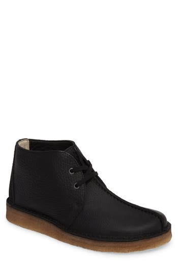 Clarks Desert Trek Leather Boot- Black