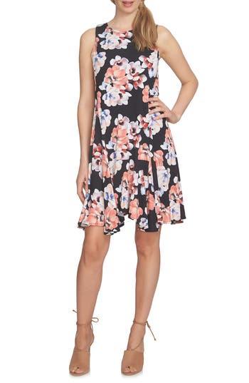 Cece Floral Knit Handkerchief Hem Dress, Black