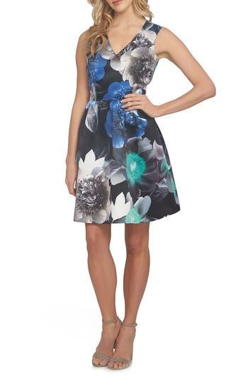 Cece Rose Fit & Flare Dress, Black