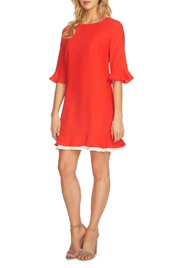 Cece Kate Ruffle Dress, Red