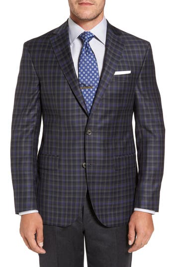 Big & Tall David Donahue Connor Classic Fit Check Wool Sport Coat, 0 R - Black