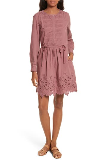 La Vie Rebecca Taylor Eyelet Poplin Dress, Pink