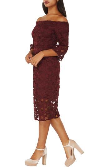 Dorothy Perkins Lace Off The Shoulder Dress, US / 14 UK - Burgundy