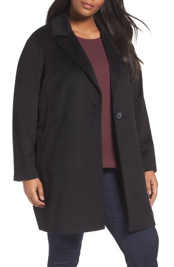 Plus Size Halogen Wool Blend Coat, Black