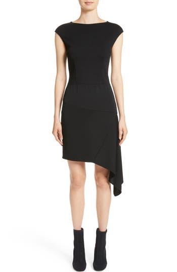 St. John Collection Milano Knit Asymmetrical Dress, Black