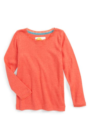 Girl's Mini Boden Soft Pointelle Tee, Size 4-5Y - Red