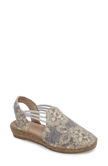 Toni Pons Metz Embroidered Espadrille Wedge Grey