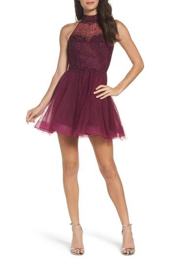 La Femme Rhinestone Halter Skater Dress, Pink