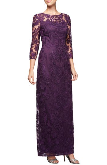 Alex Evenings Embroidered Column Gown, Purple
