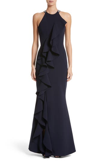 Rachel Gilbert Embellished Frill Front Crepe Gown, Blue