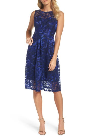 Ellen Tracy Floral Scroll Embroidered Cocktail Dress, Blue