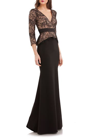 Js Collections Lace & Crepe Peplum Gown, Black