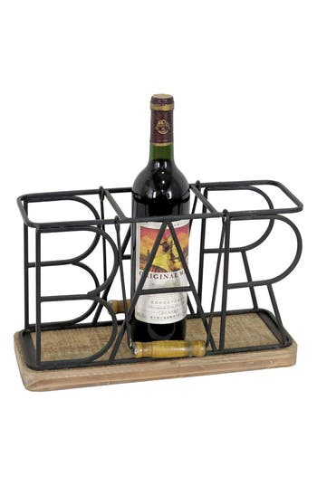 Foreside Bar 3-Bottle Caddy, Size One Size - Black