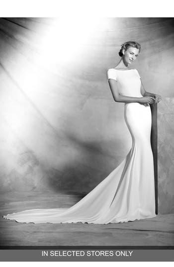 Atelier Pronovias Valeria Open Back Crepe Mermaid Gown, Size - Ivory