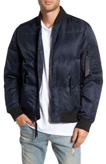 The Very Warm Quilted Down Bomber Jacket, Blue