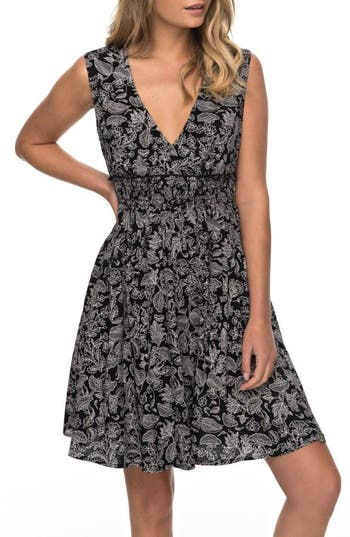Roxy Angelic Grace Print Dress, Black