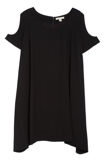 Plus Size Sejour Cold Shoulder Swing Dress, Black