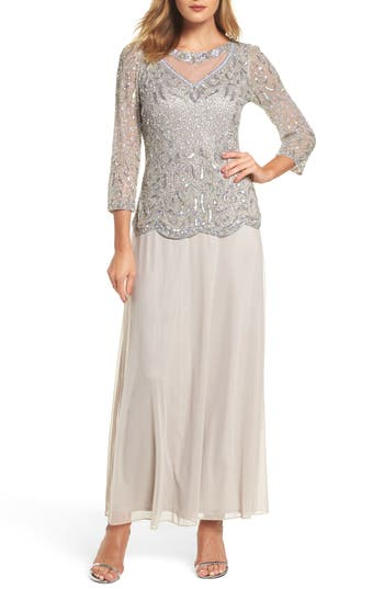 Pisarro Nights Embellished Two-Piece Gown, Metallic