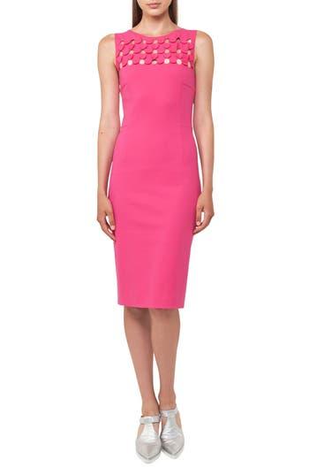 Akris Punto Cutout Dot Sheath Dress, Pink