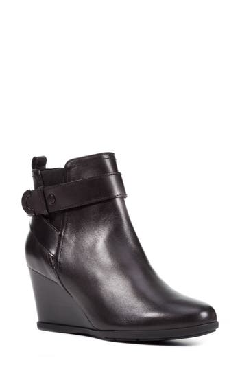 Geox Inspiration Buckle Wedge Bootie, Black