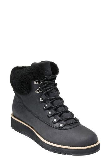 Cole Haan Grandexpl?re Genuine Shearling Trim Waterproof Hiker Boot, Black