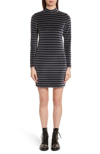 T By Alexander Wang Stripe Velour Turtleneck Dress, Grey