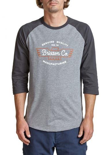 Brixton Concord Baseball T-Shirt, Grey