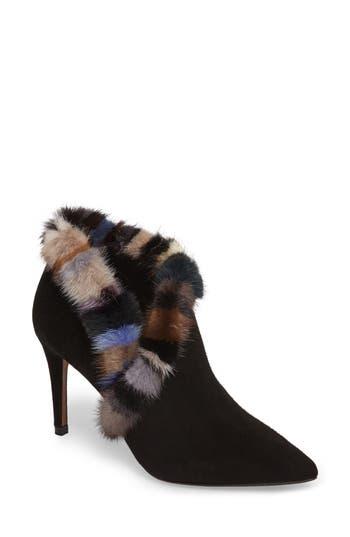Donald J Pliner Renata Genuine Mink Fur Trim Bootie, Black