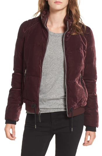 Andrew Marc Vita Down & Feather Fill Quilted Velvet Jacket, Red