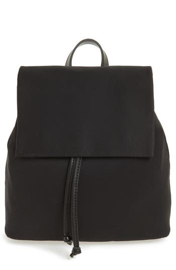 Bp. Satin & Faux Leather Backpack - Black