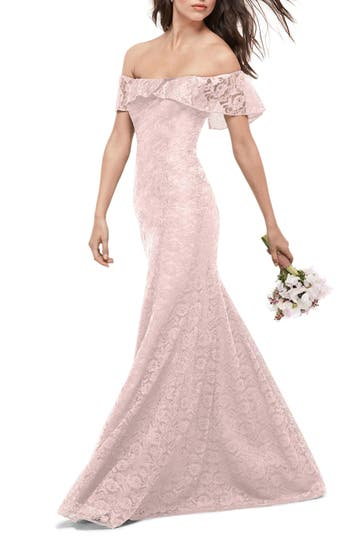Wtoo Amour Lace Off The Shoulder Gown, Pink