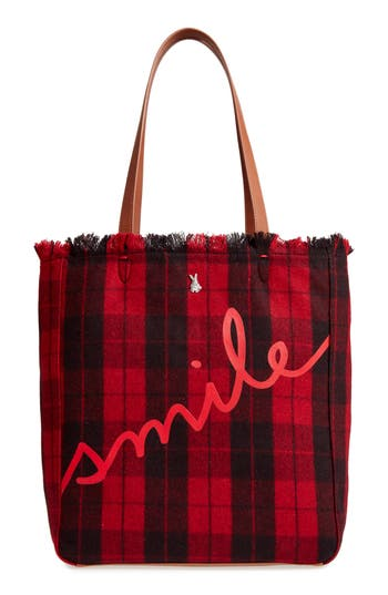 Ed Ellen Degeneres Oax Flannel Plaid Tote - Red