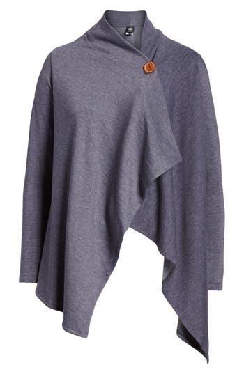 Women's Bobeau One-Button Fleece Wrap Cardigan, Size X-Small - Blue