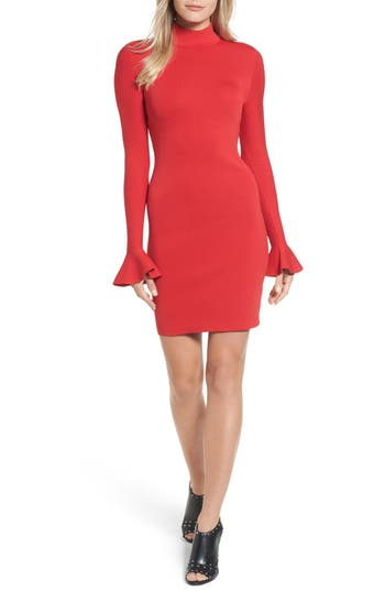 Michael Michael Kors Bell Sleeve Body-Con Dress, Burgundy
