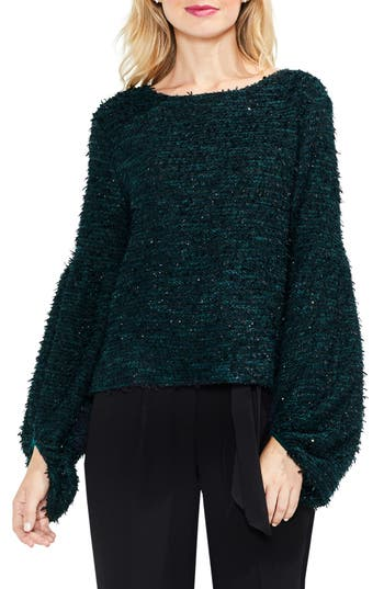 Women's Vince Camuto Bubble Sleeve Eyelash Knit Sweater, Size XX-Small - Green