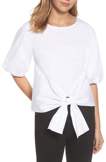 Women's Gibson Bubble Sleeve Tie Front Top, Size X-Small - White