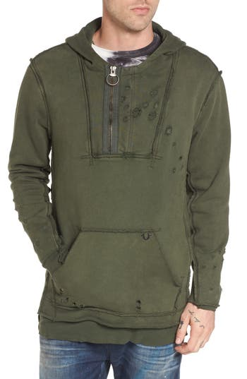 True Religion Brand Jeans Distressed Pullover Hoodie, Green