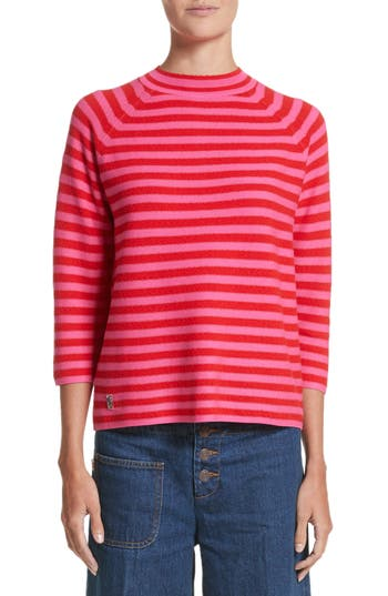 Women's Marc Jacobs Stripe Mock Neck Sweater, Size X-Small - Red