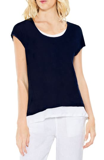 Two By Vince Camuto Colorblocked Linen Top, Blue