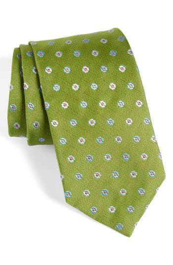 Men's David Donahue Neat Floral Medallion Silk Tie, Size Regular - Green