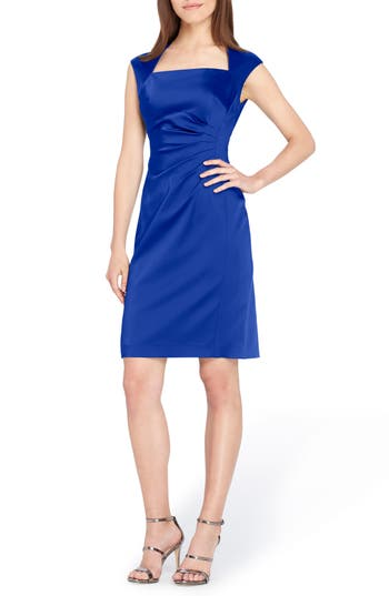 Tahari Stretch Satin Sheath Dress, Blue