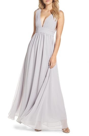 Lulus Plunging V-Neck Chiffon Gown, Grey