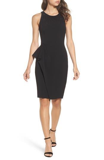 Eliza J Embellished Ruffle Sheath Dress, Black