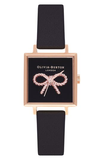 Women's Olivia Burton Vintage Bow Square Leather Strap Watch, 30Mm