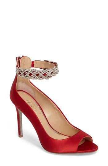 Jewel Badgley Mischka Alanis Embellished Ankle Strap Pump- Red